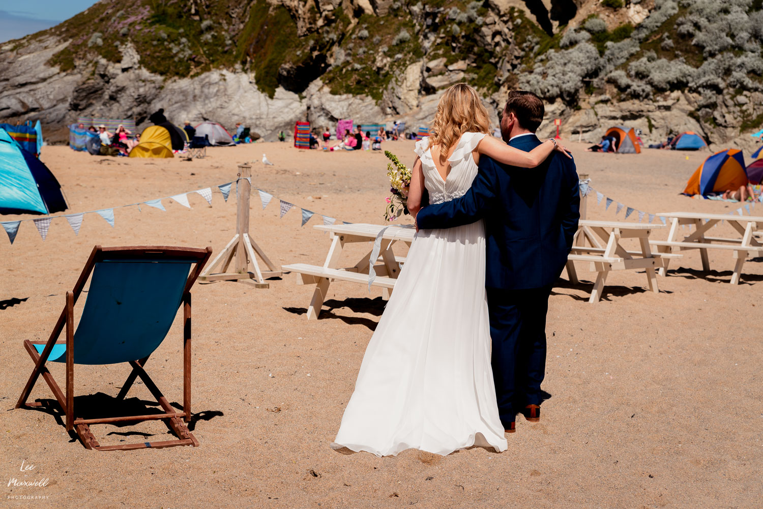 Bride and groom at Lusty, Newquay