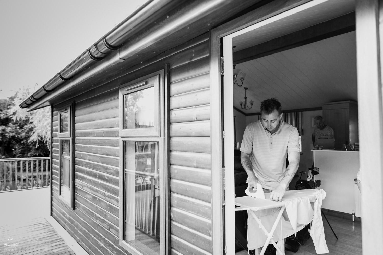 Upton Barn wedding photography ironing