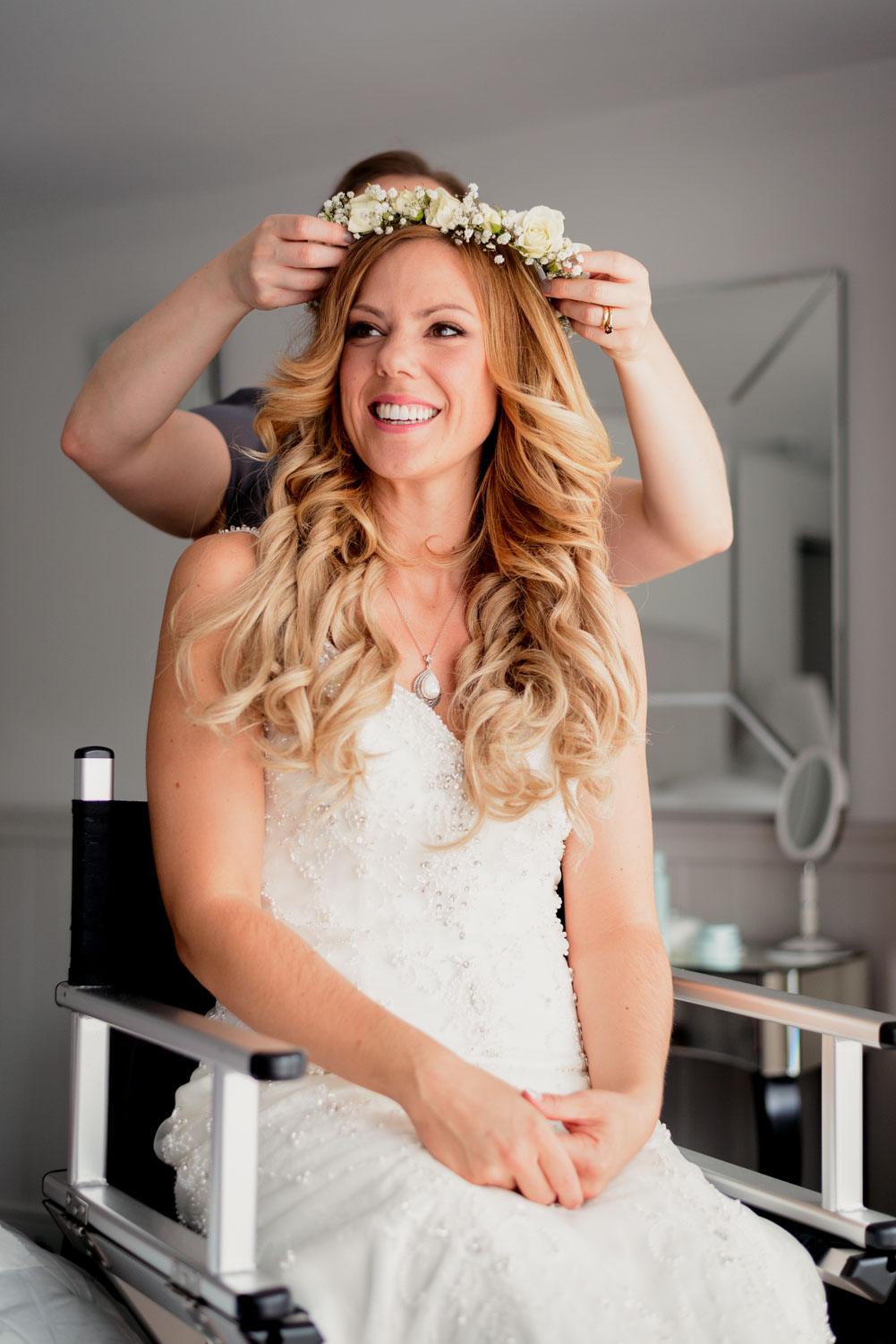 Bridal flower crown going on