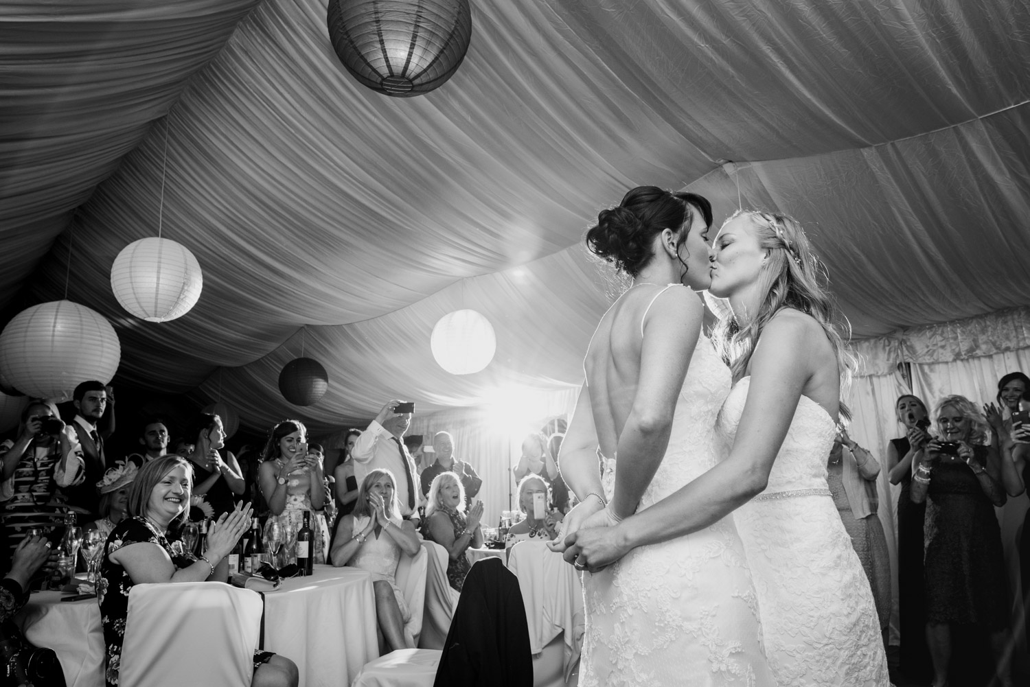Brides first dance black and white