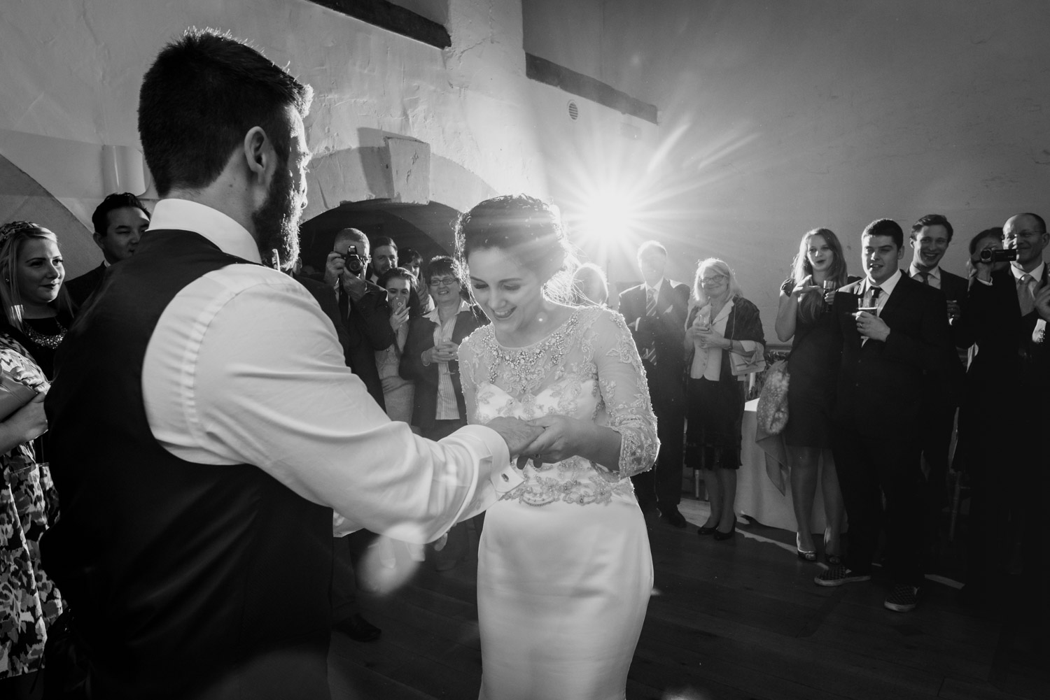 Black and white first dance at Priston Mill