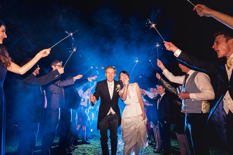 Cool blue light wedding sparklers