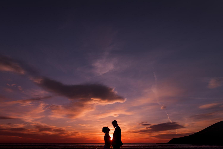 Epic wedding sunset portrait