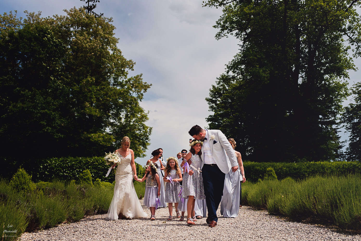 Walking bridal party at Chateau