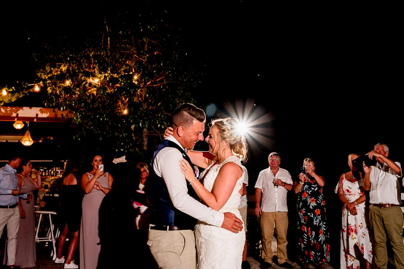 Bride and groom first dance in Kefalonia
