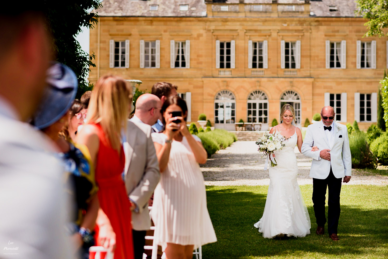 Brides entrance at Chateau La Durantie