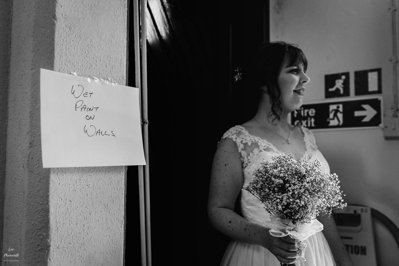 Bride near wet paint