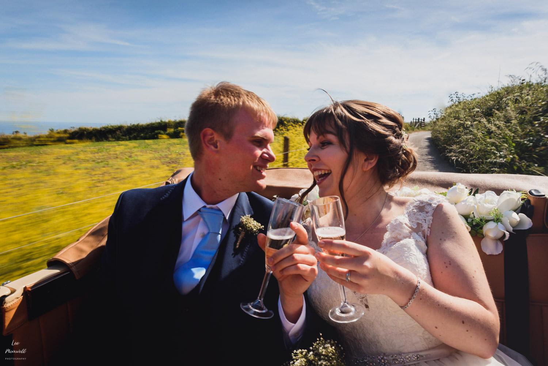 Slow shutter speed in wedding car