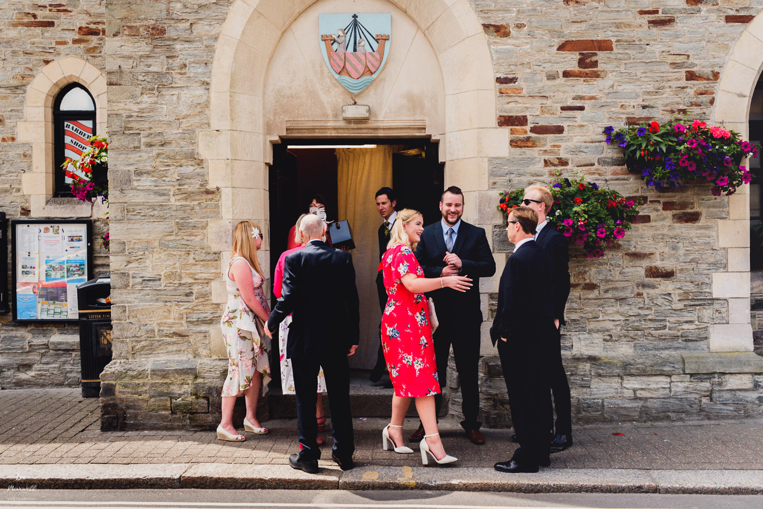 Guests arriving at wedding Looe guildhall