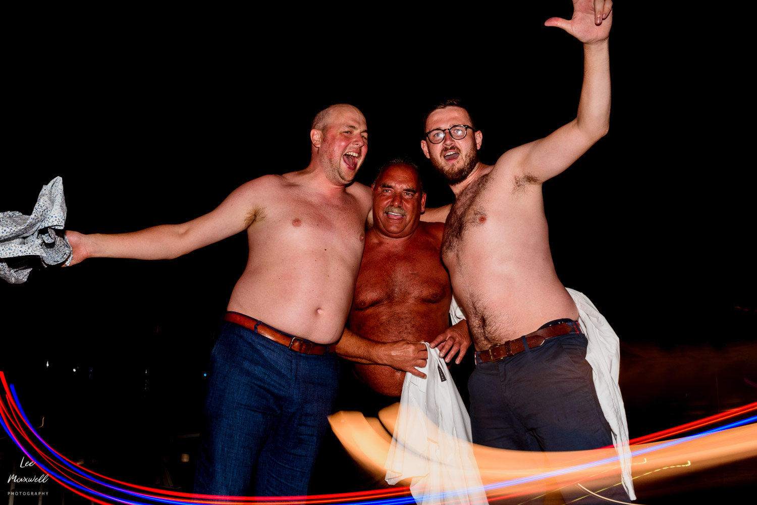 Shirts off in Kefalonia wedding