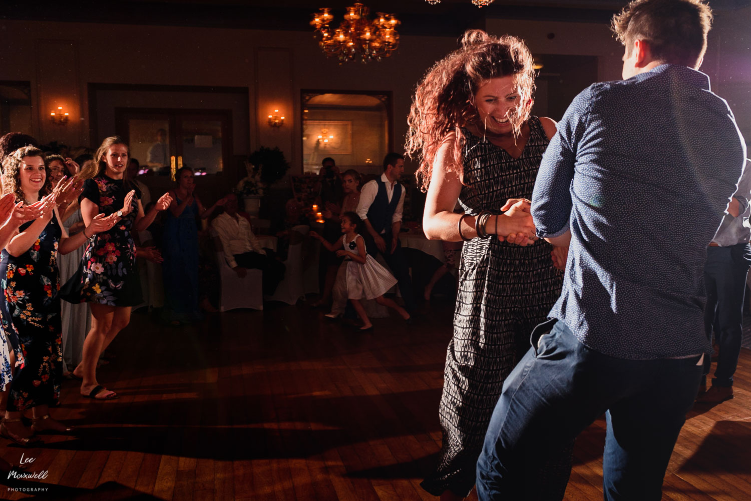 Ceilidh dancing at Woolacombe wedding