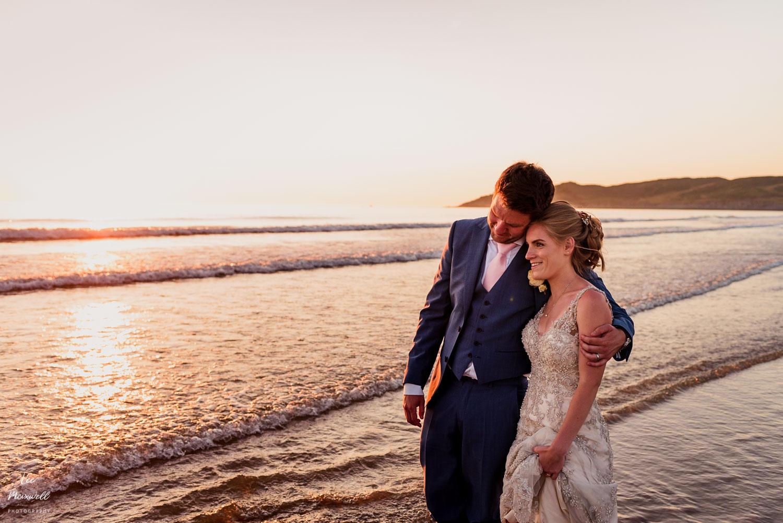 Bride and groom at North Devon coast