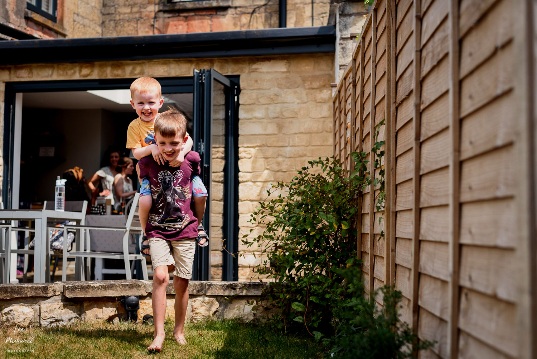 Kids having fun in garden