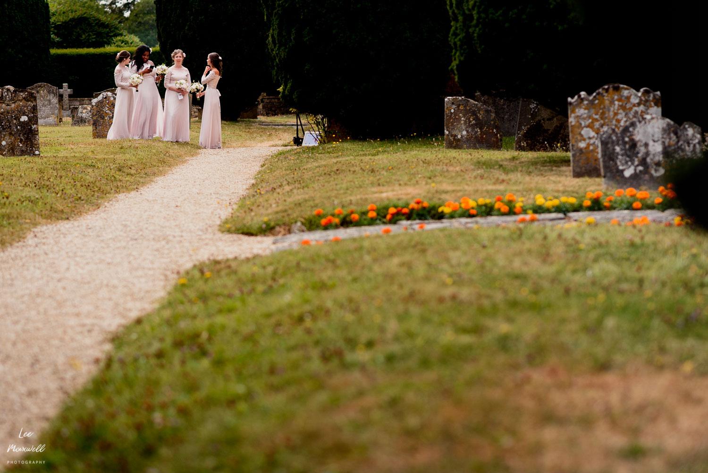 Bridesmaids waiting at church