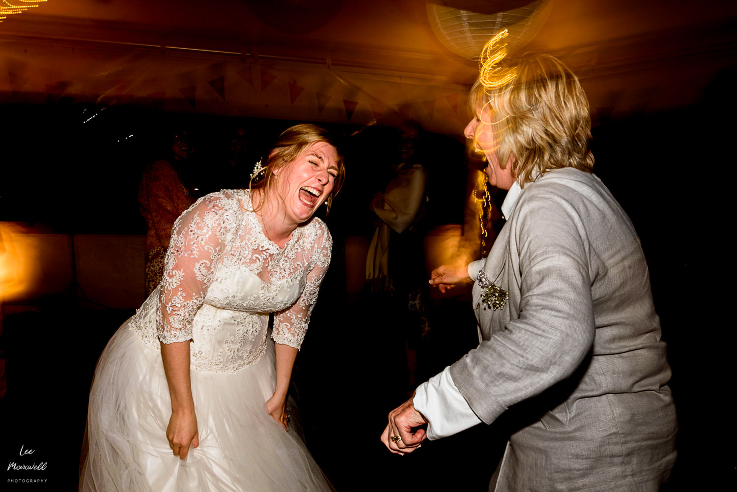 Bride laughing out loud