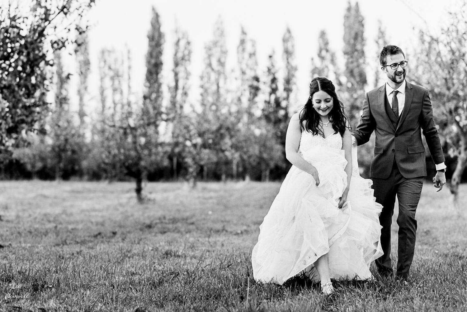 Relaxed wedding portrait black and white