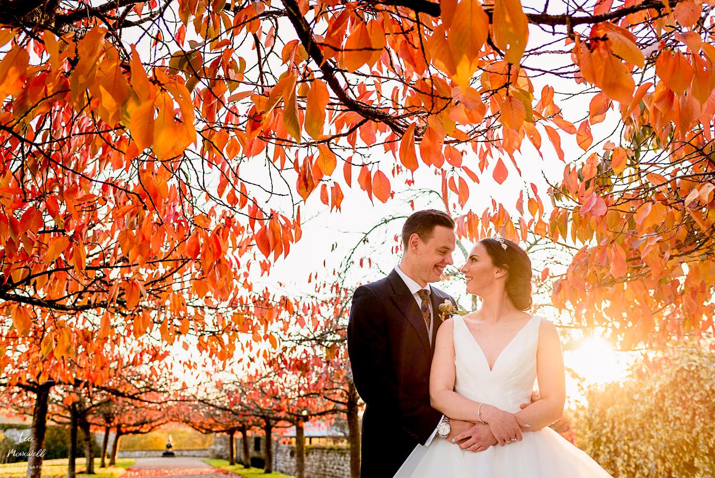 Wedding portrait in winter sun