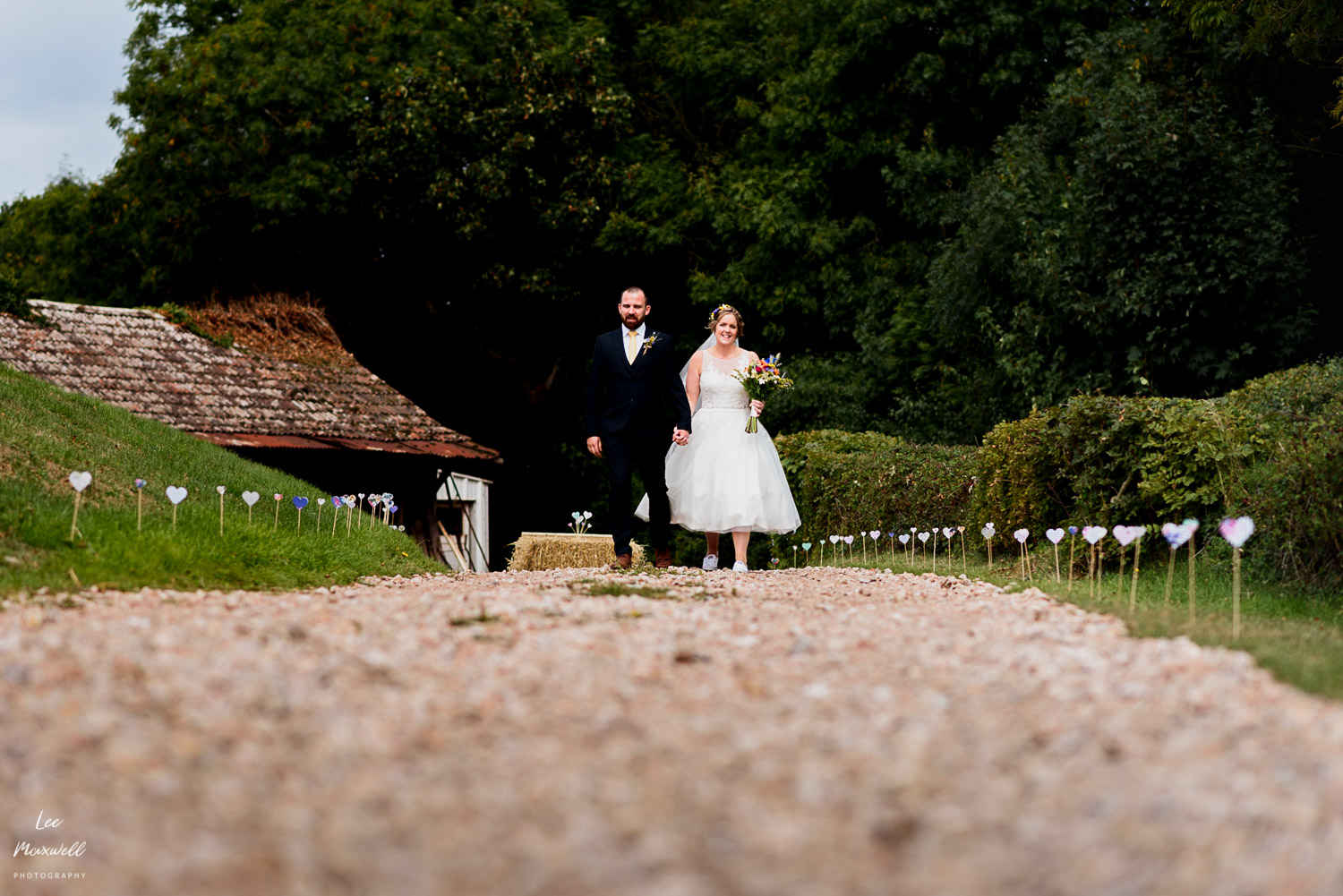 Bride and groom entrance to Bickham Barn