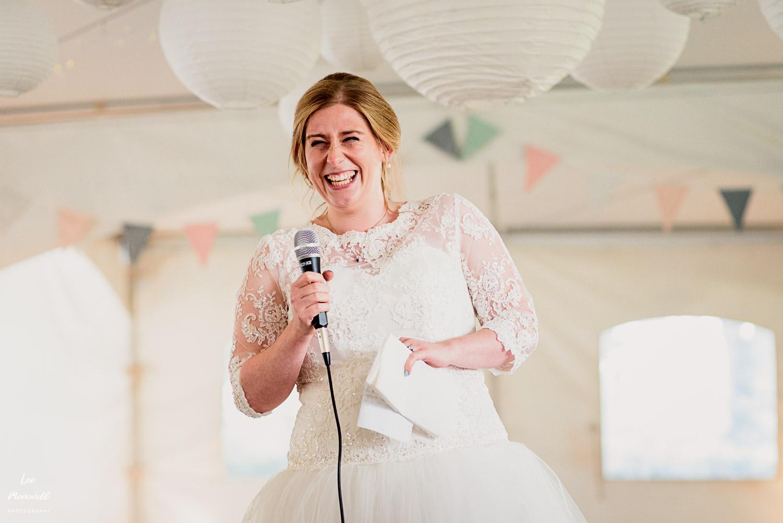 Bride giving her speech