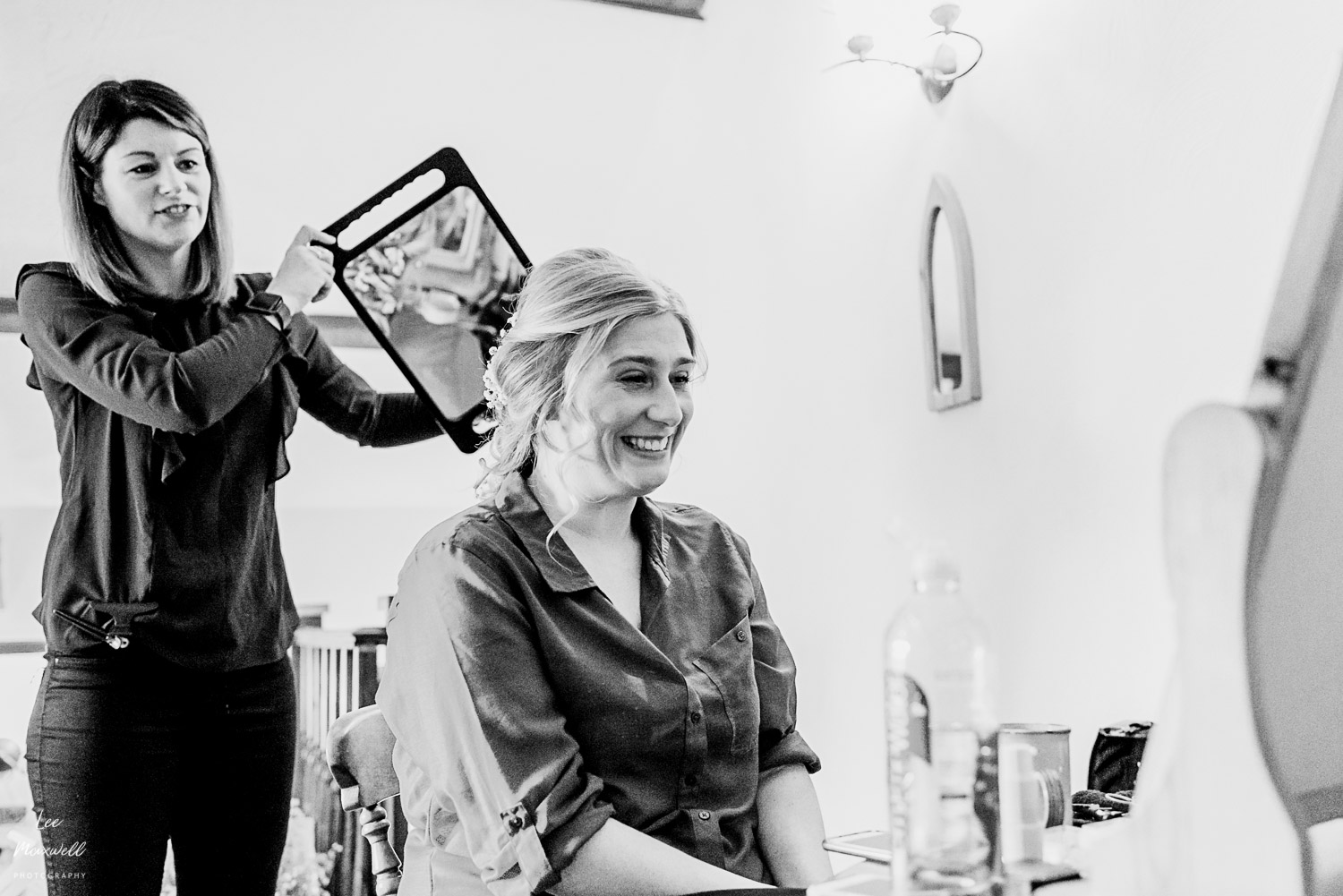 Bride checking her hair