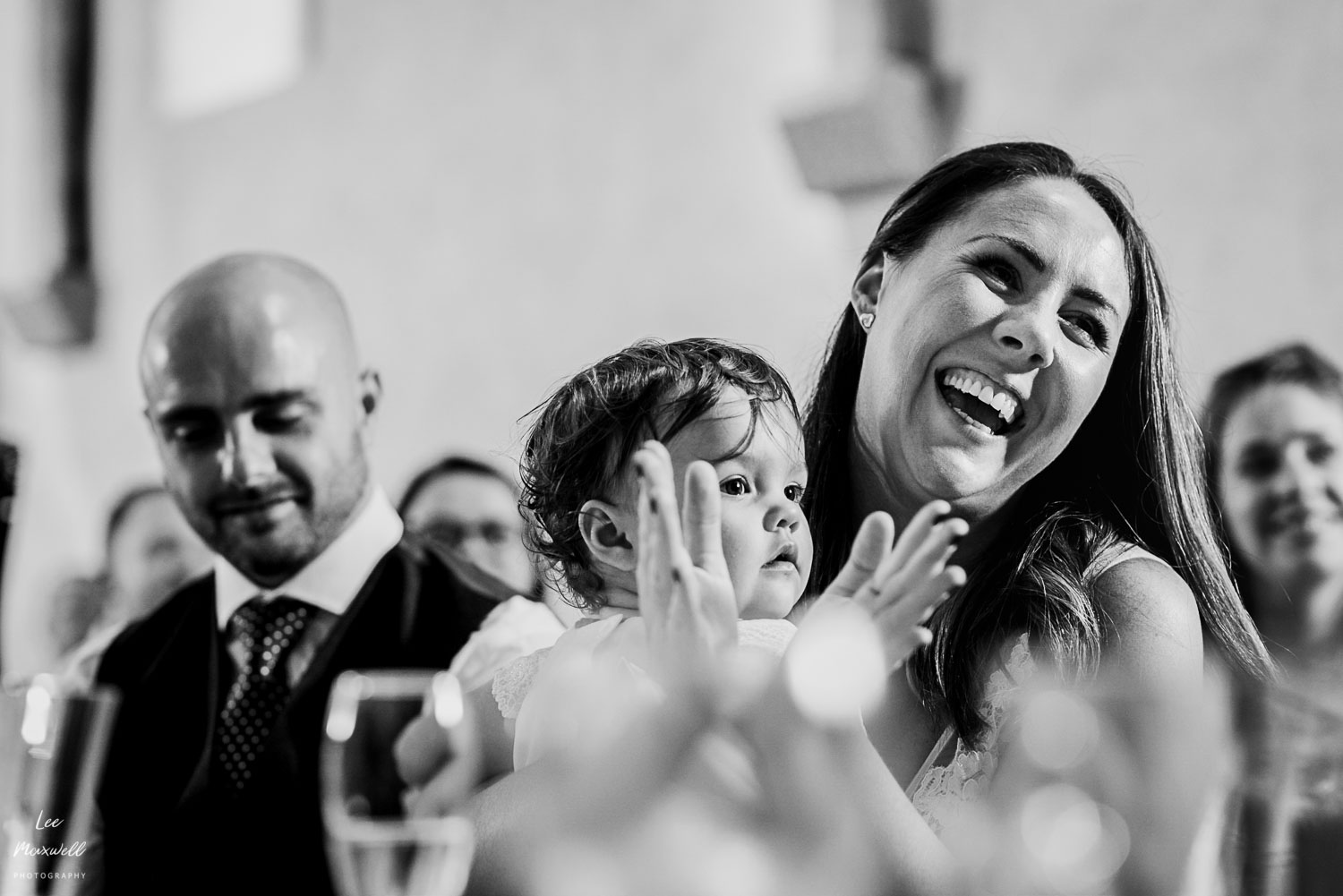Laughing bride at speech