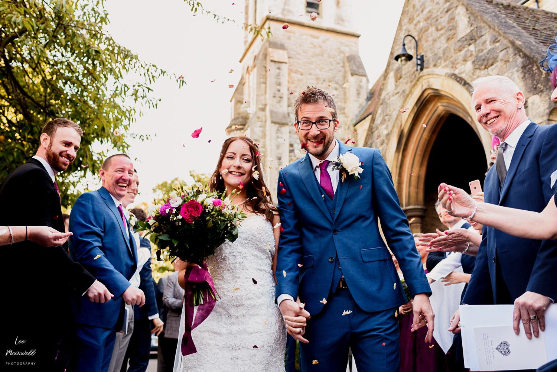 Confetti at Kent wedding