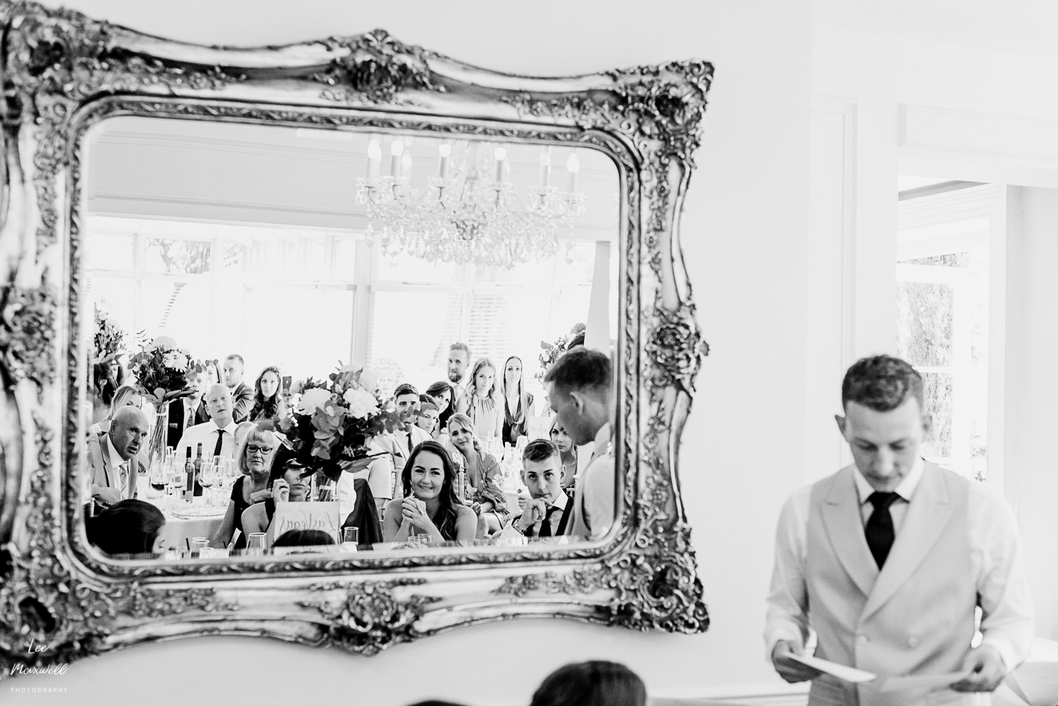 Mirror reflection of groom's speech