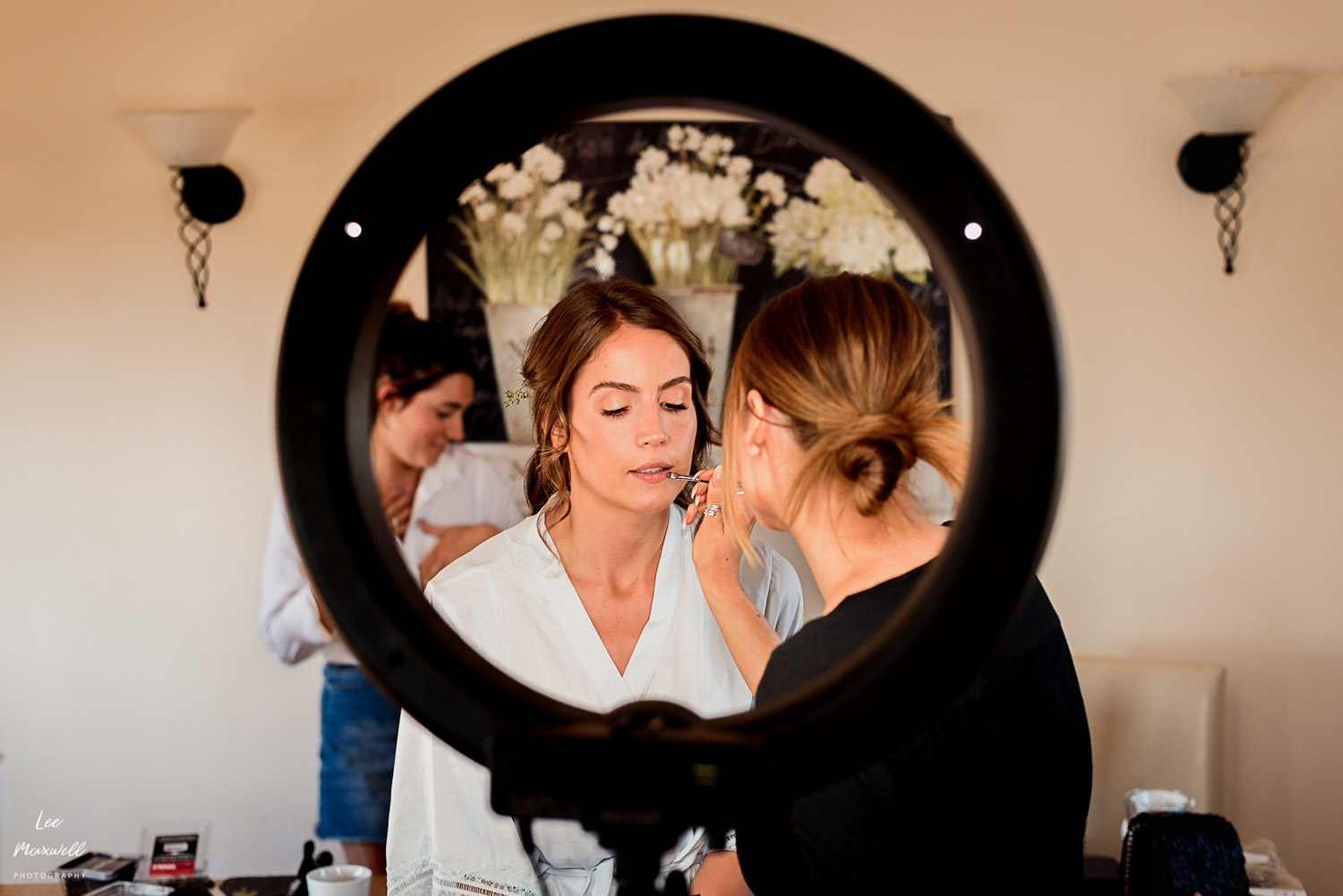 Bride getting makeup ready