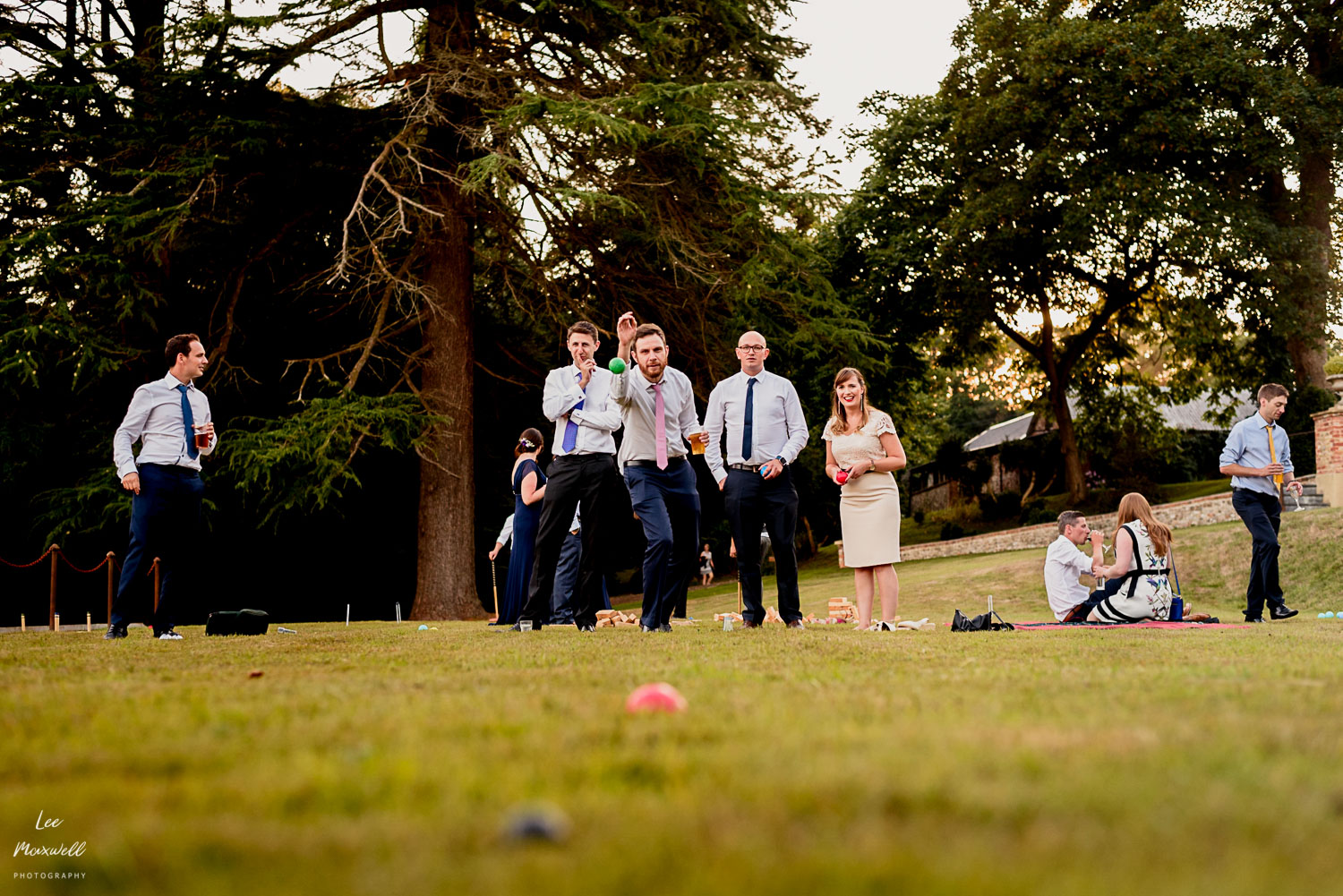 Guests playing bowls