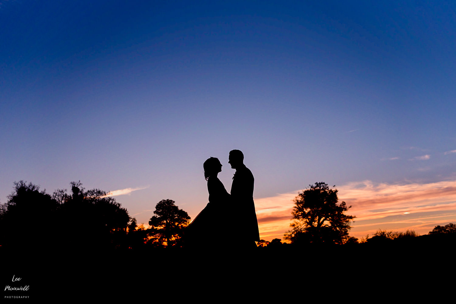 Bride and groom sunset at Cowdray Estate