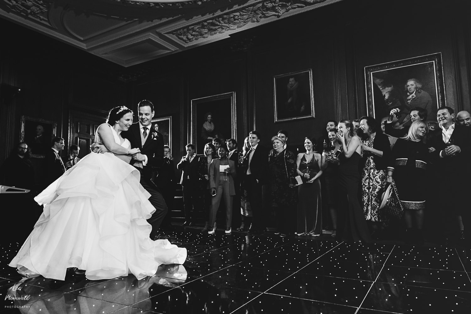 Black and white first dance at Cowdray Estate
