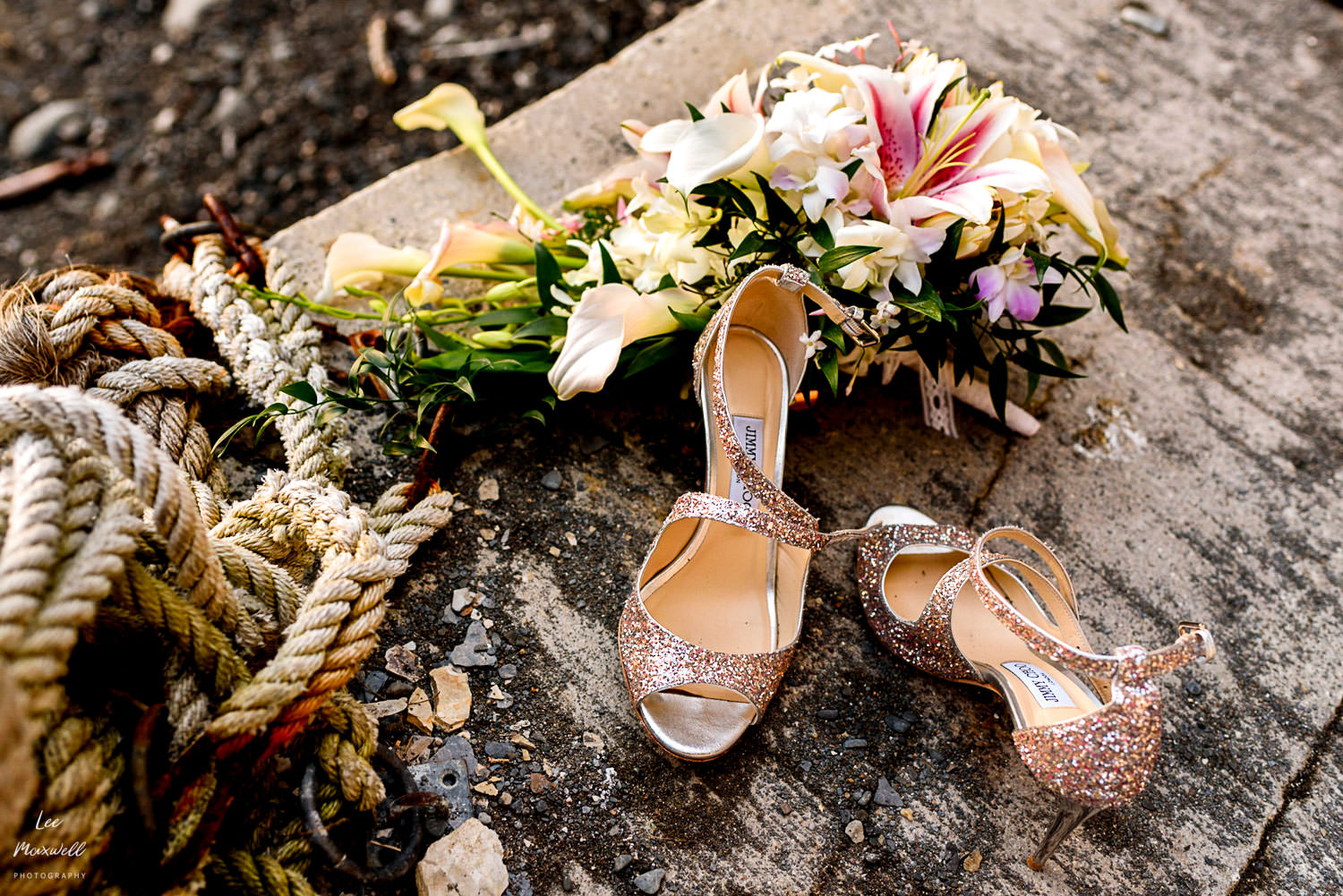 Jimmy Choo shoes at beach wedding