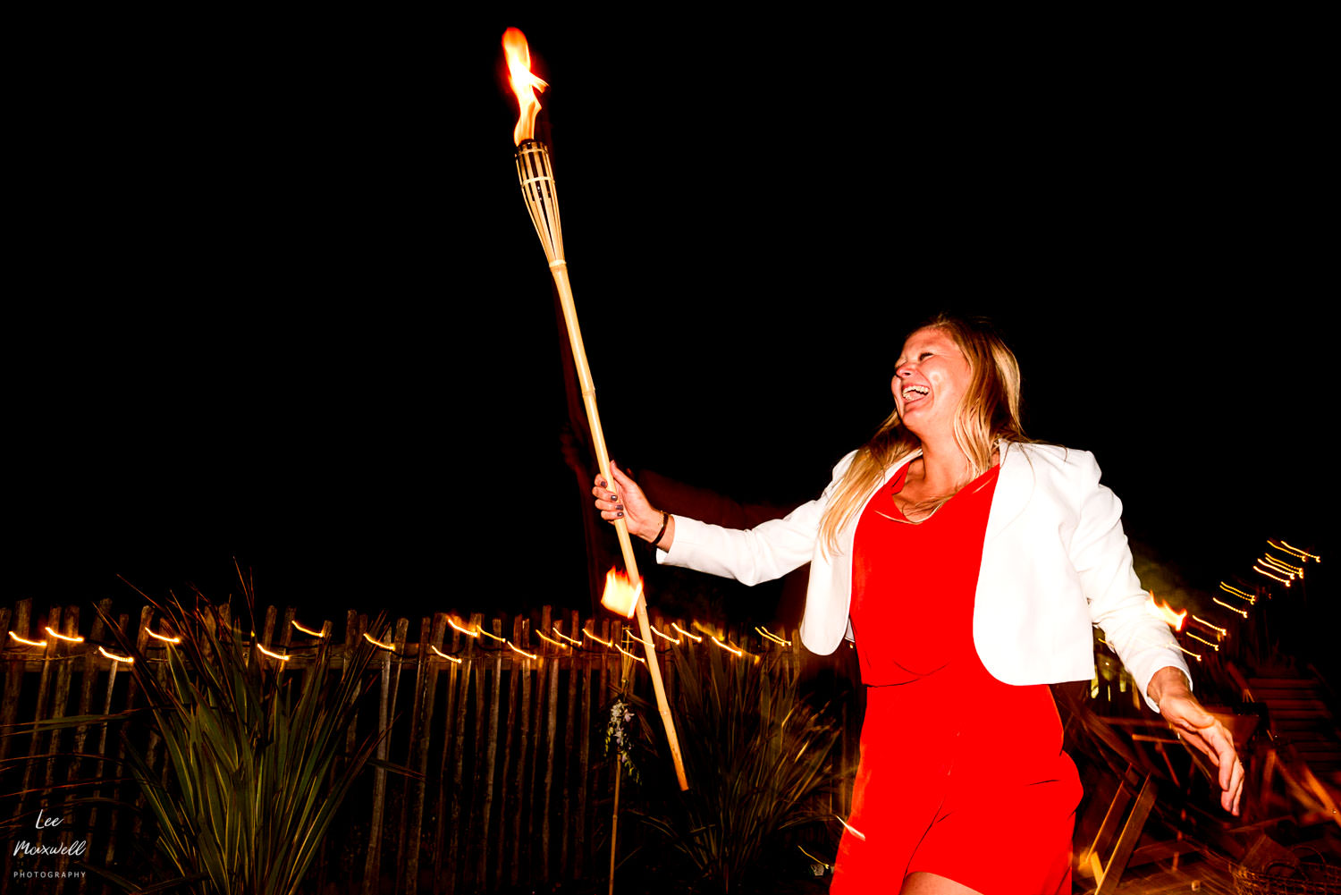 Dancing with fire at wedding