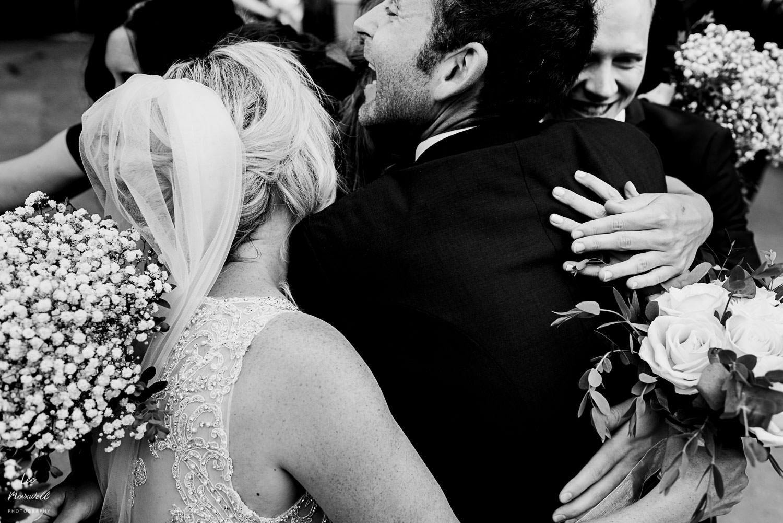 Big hug with bridemaids