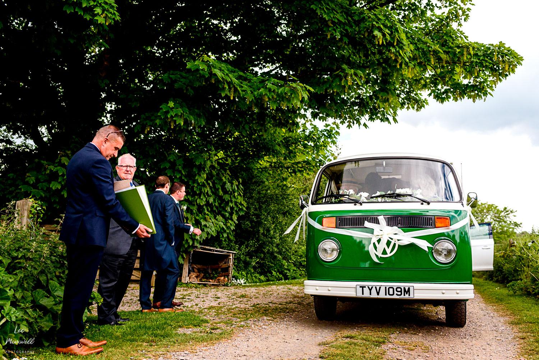 VW van arriving at wedding
