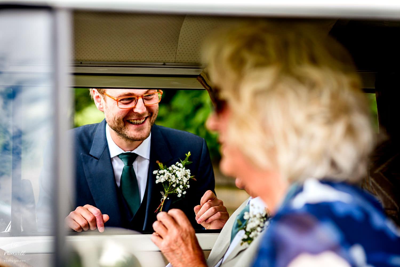 Best Man chatting in the VW van