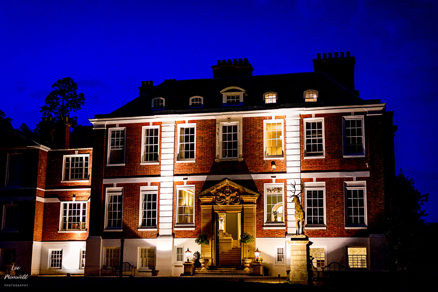 Pynes House, Exeter, at night