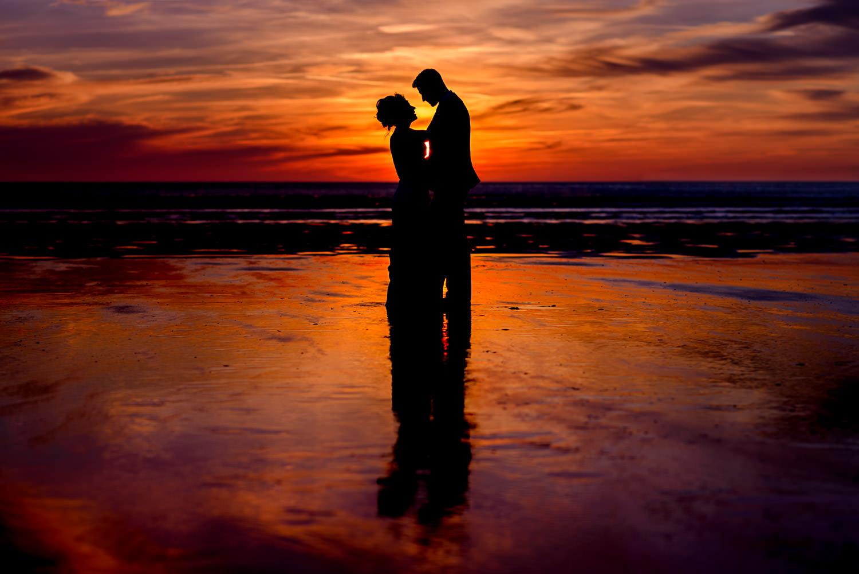 Beautiful sunset for Devon beach wedding
