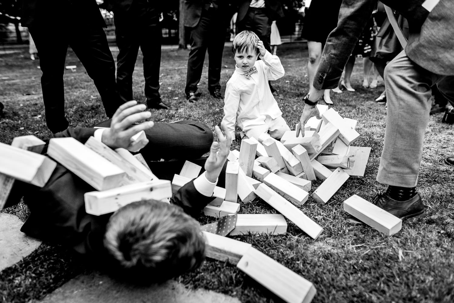 Fallen giant Jenga at wedding