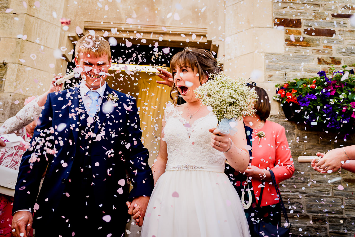 Confetti canon surprise at Devon wedding
