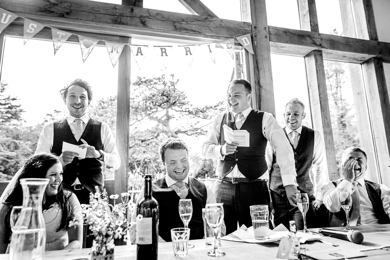 Funny speeches at Cornish wedding