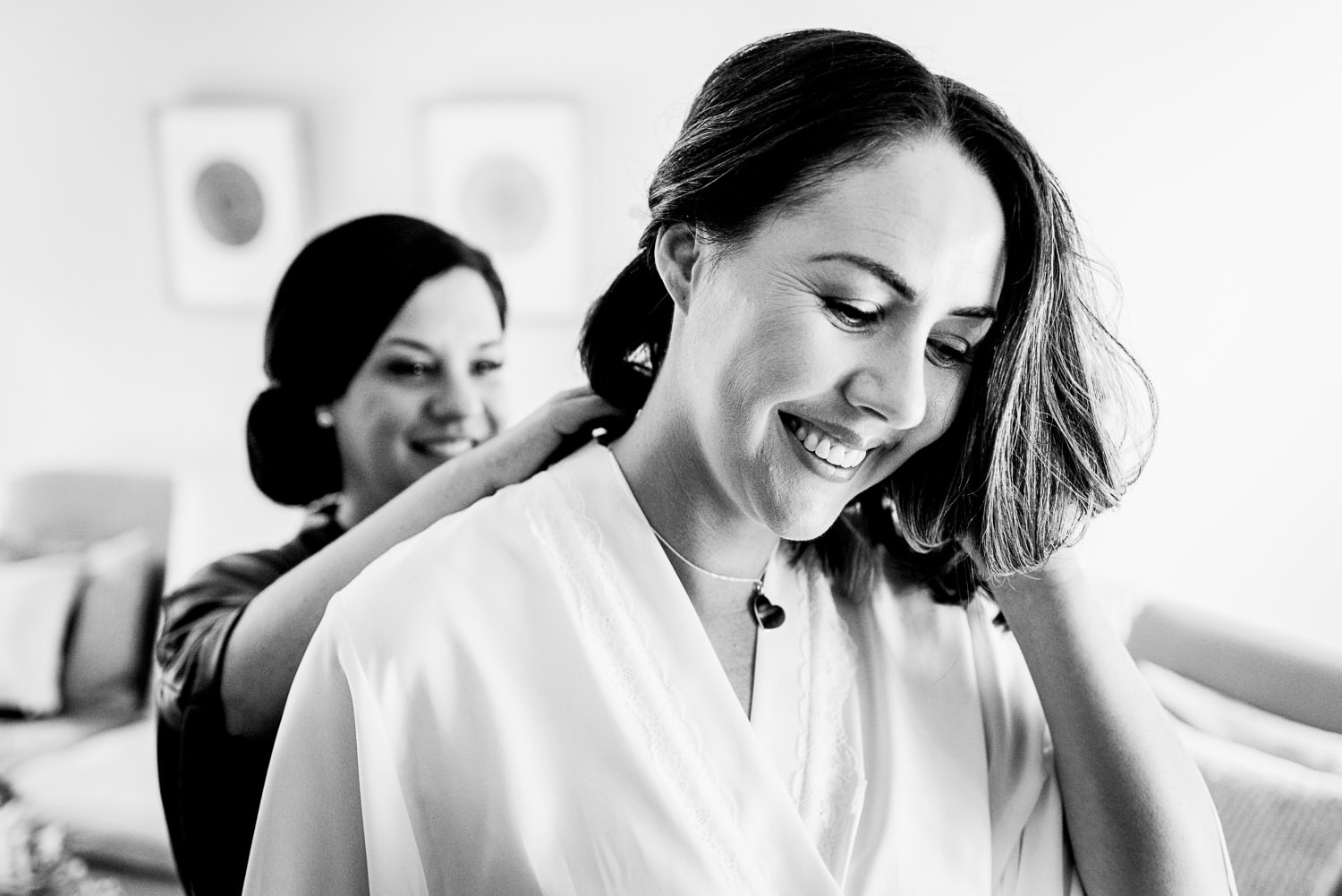 Smiling bride during Devon wedding prep