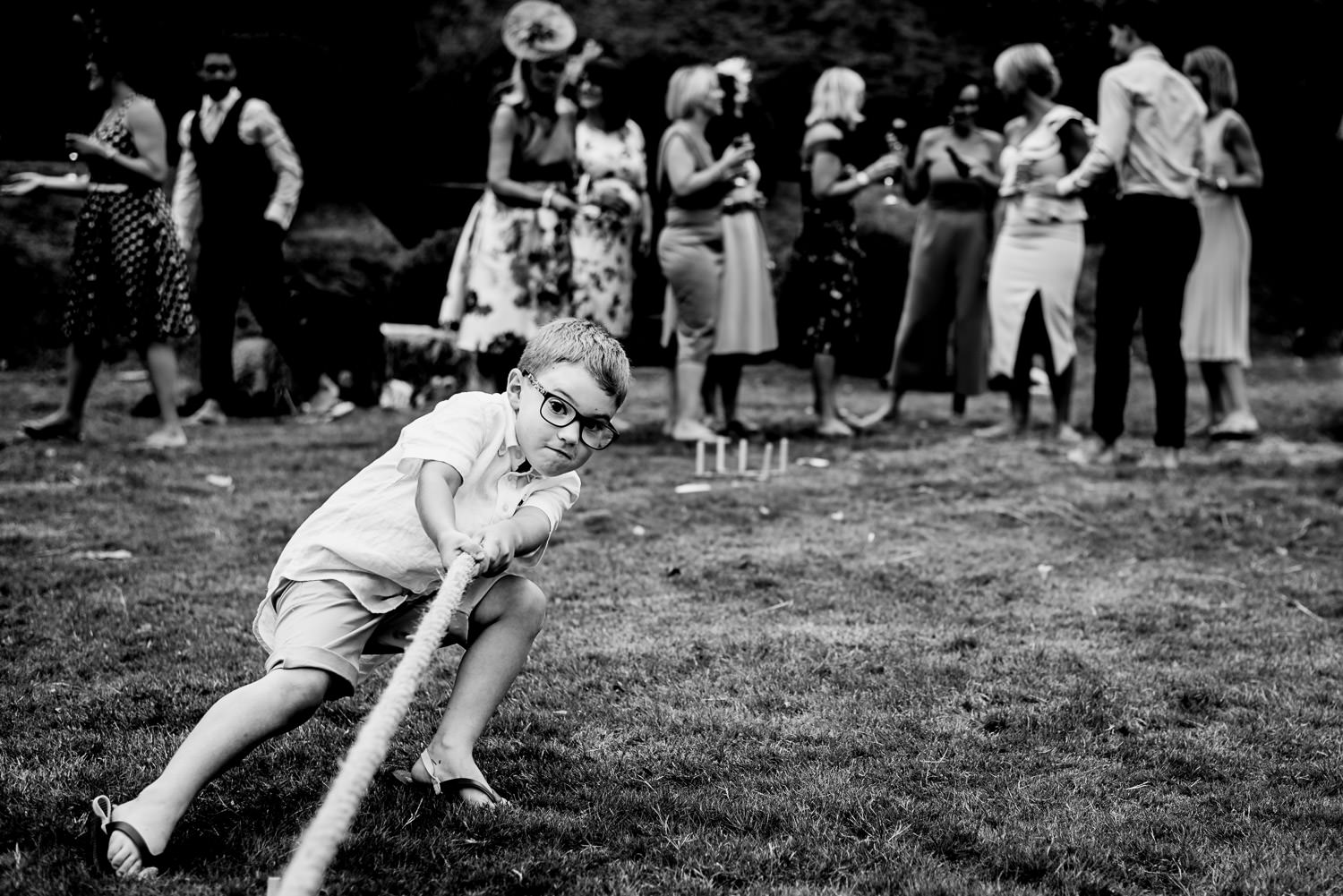 Tug of war at Devon wedding