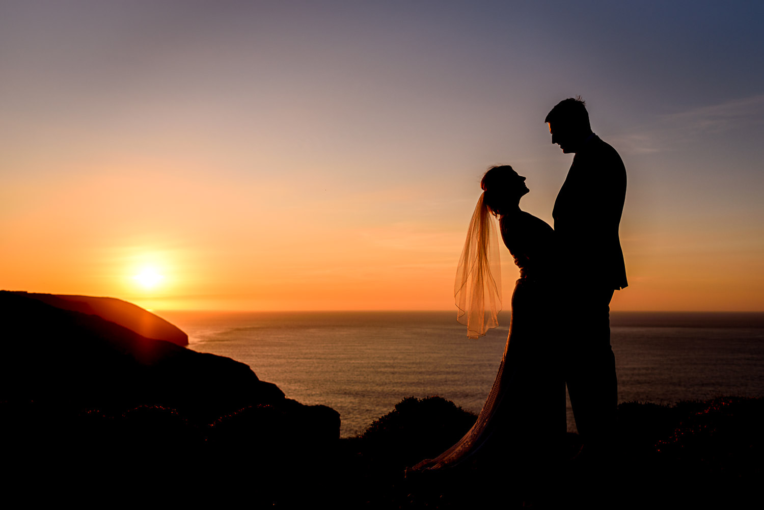 silhouette portrait for Devon wedding